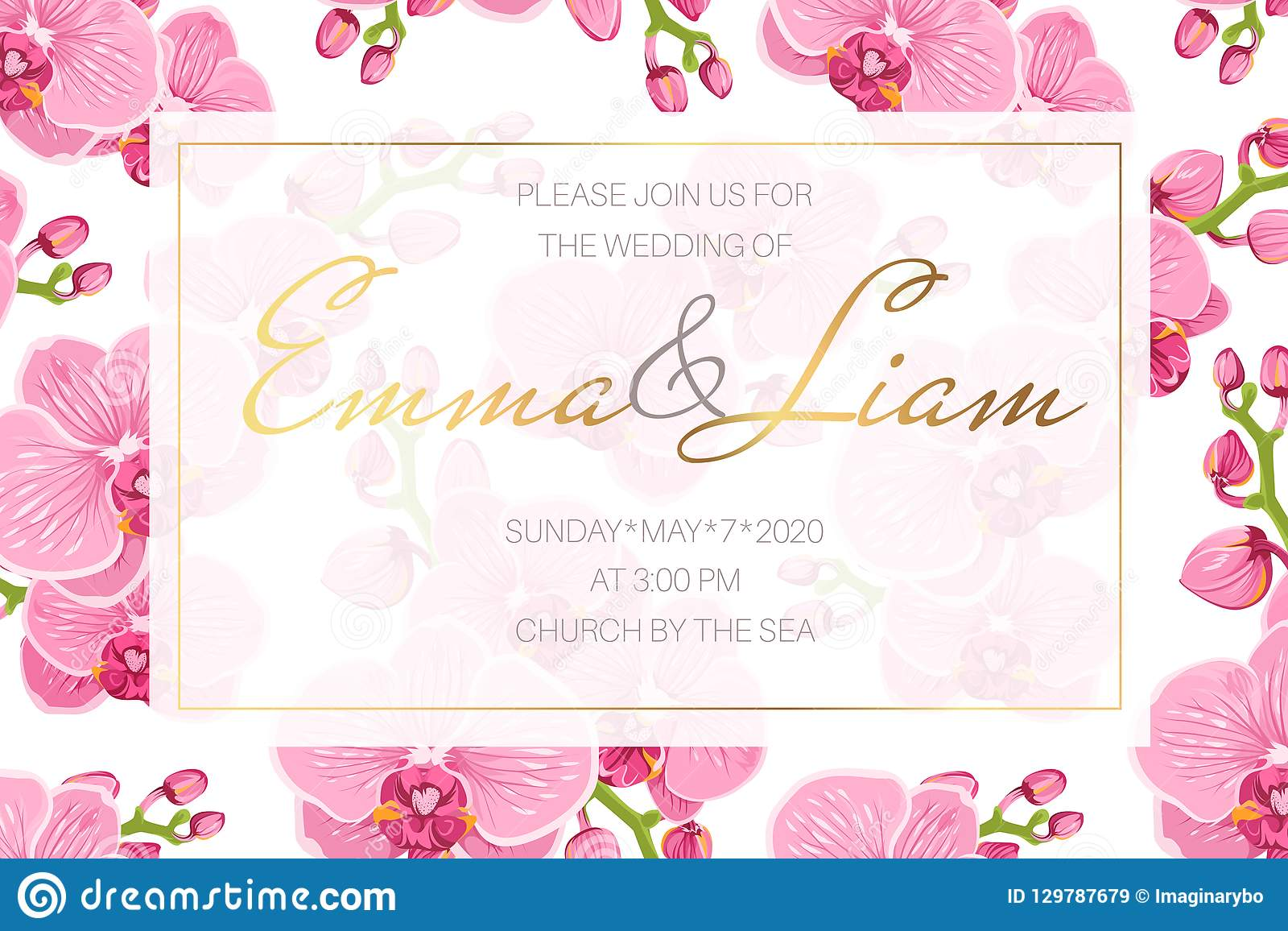 Wedding Event Invitation Card Template Rectangular Border