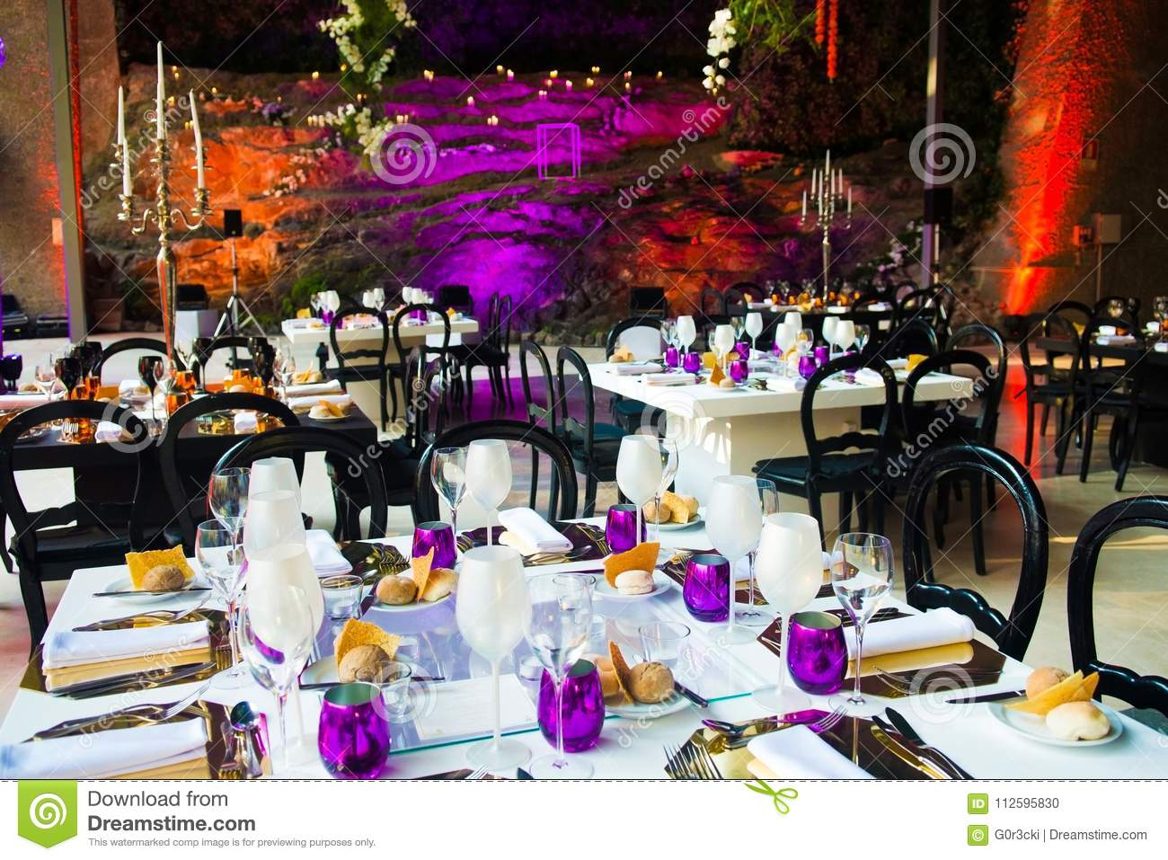 Event Dinner Tables White And Purple Wedding Party Decoration Stock