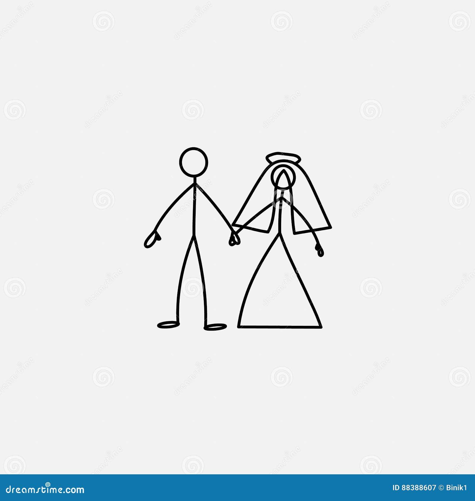 wedding family icon stick figure vector stock vector illustration