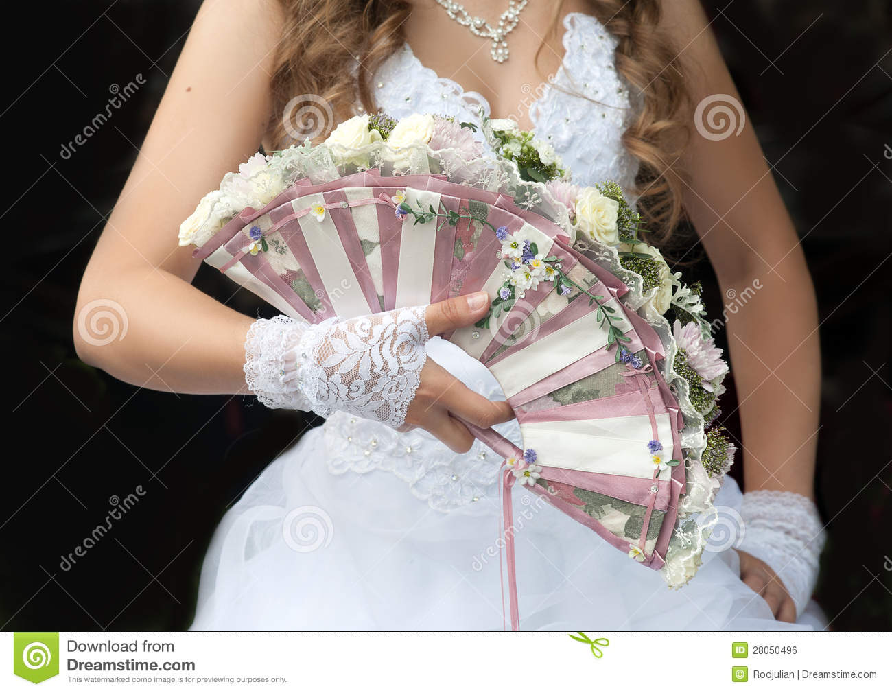 Wedding Fan-bouquet Decorated With Roses Stock Photo - Image