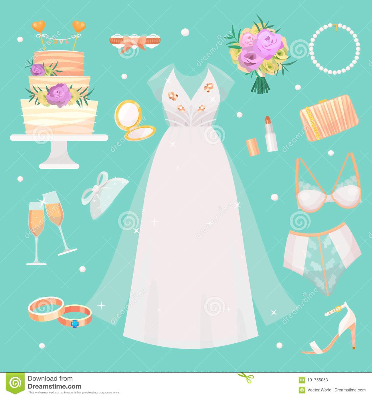 wedding ceremony fashion bride dress and accessories bridal shower decor set vector