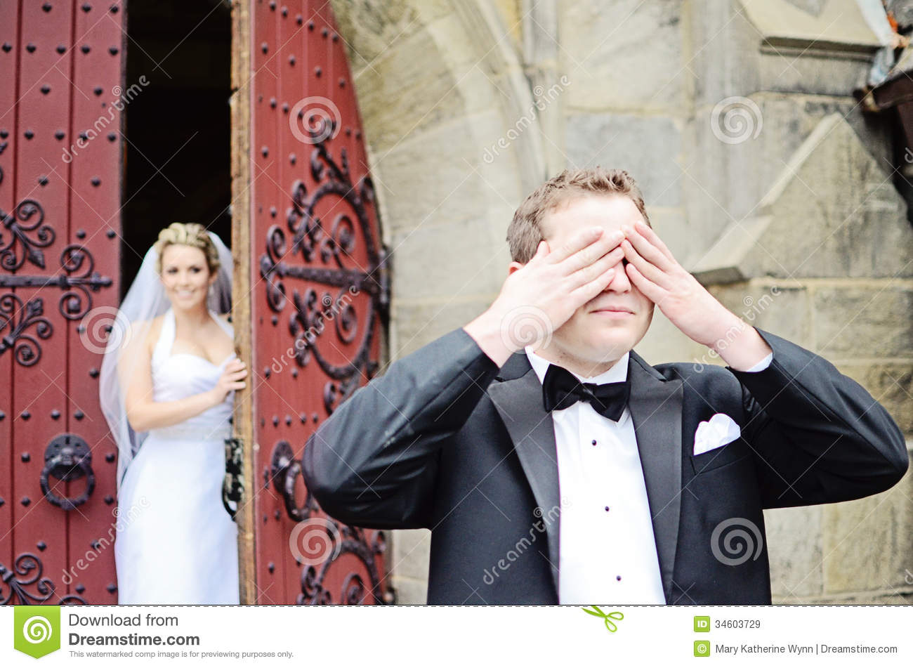 Wedding First Look Royalty Free Stock Images