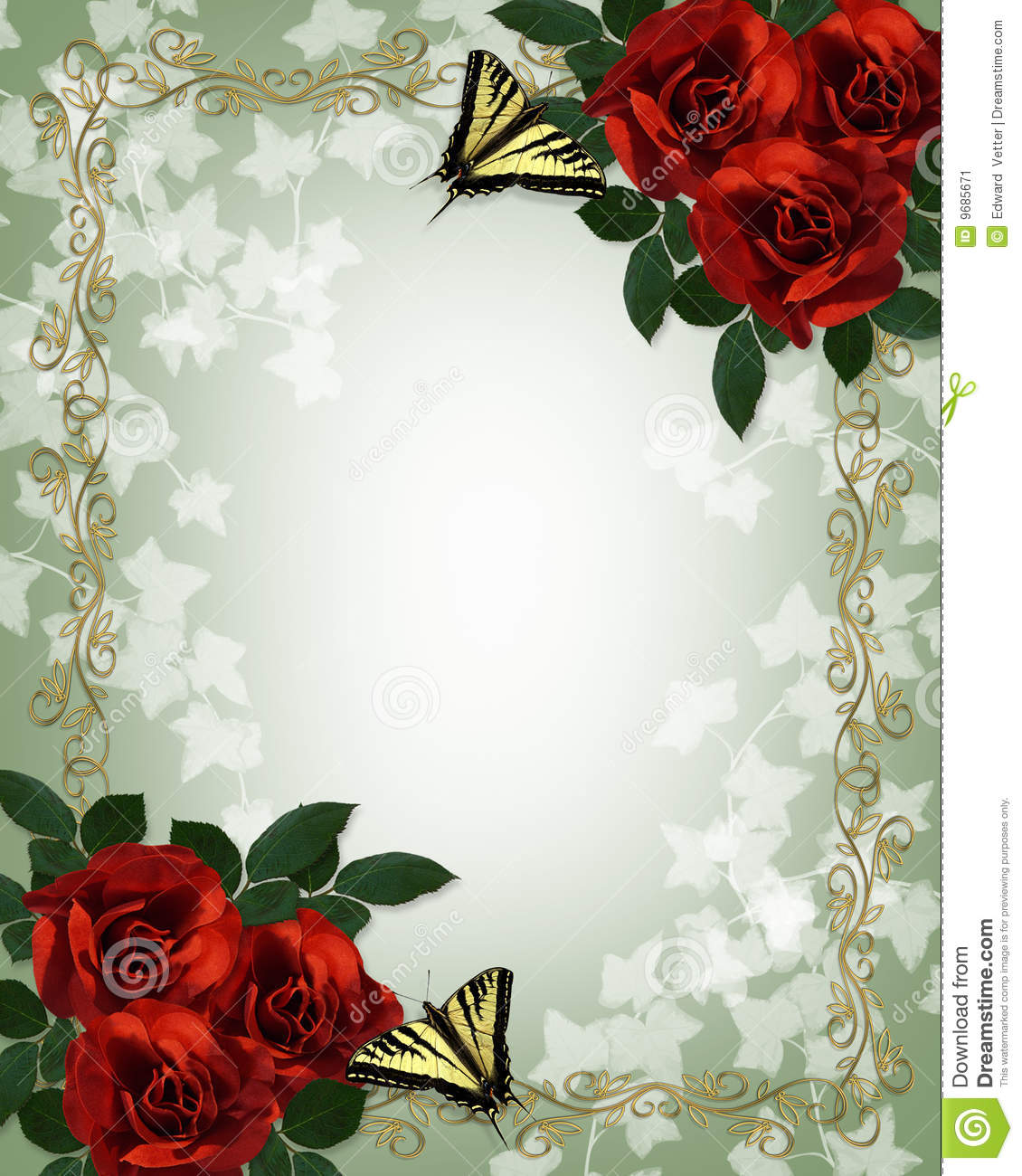 Wedding Floral Border Red Roses Butterflies Stock Image - Image: 9685671