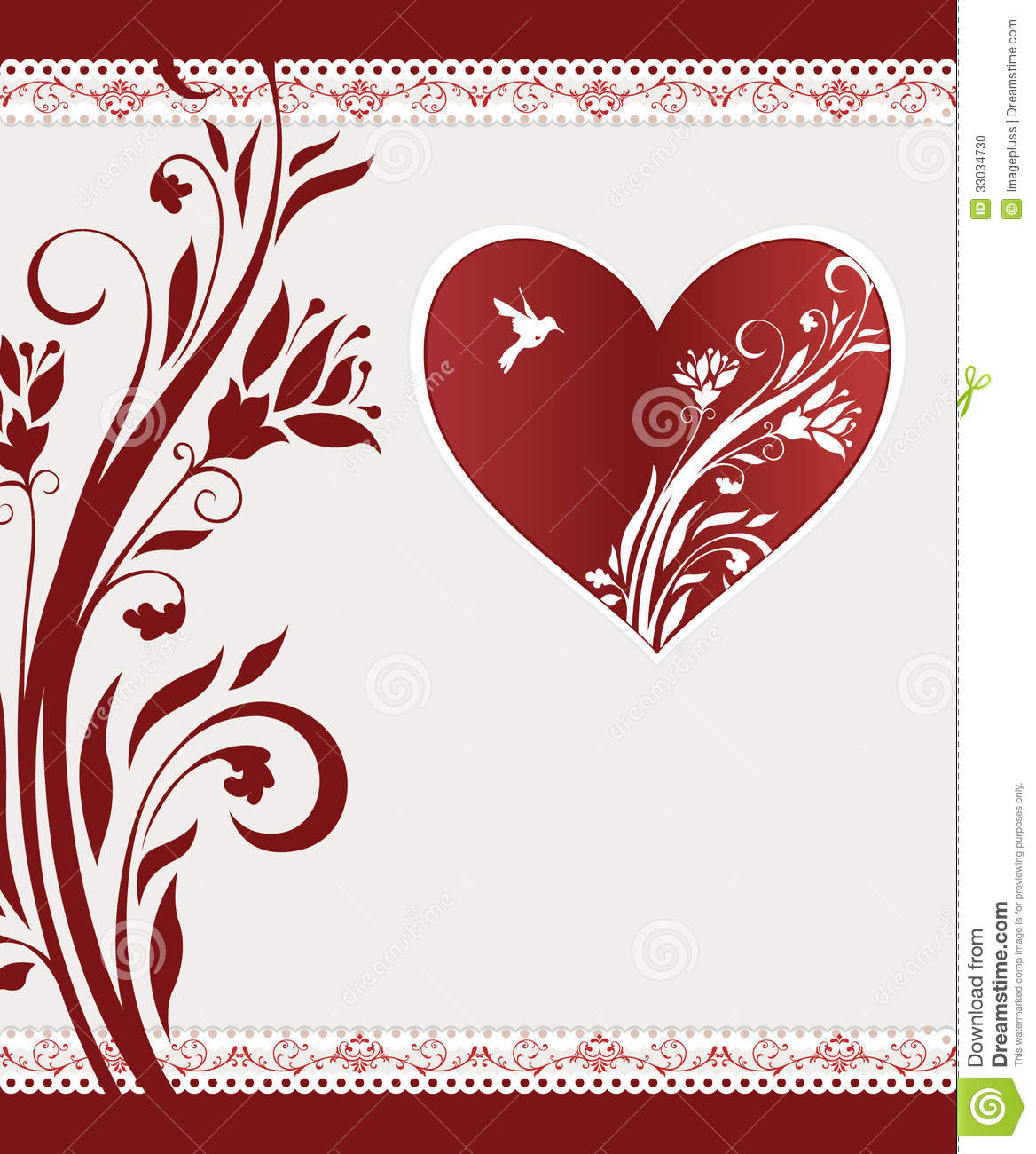 Wedding floral card stock vector. Illustration of anniversary - 33034730