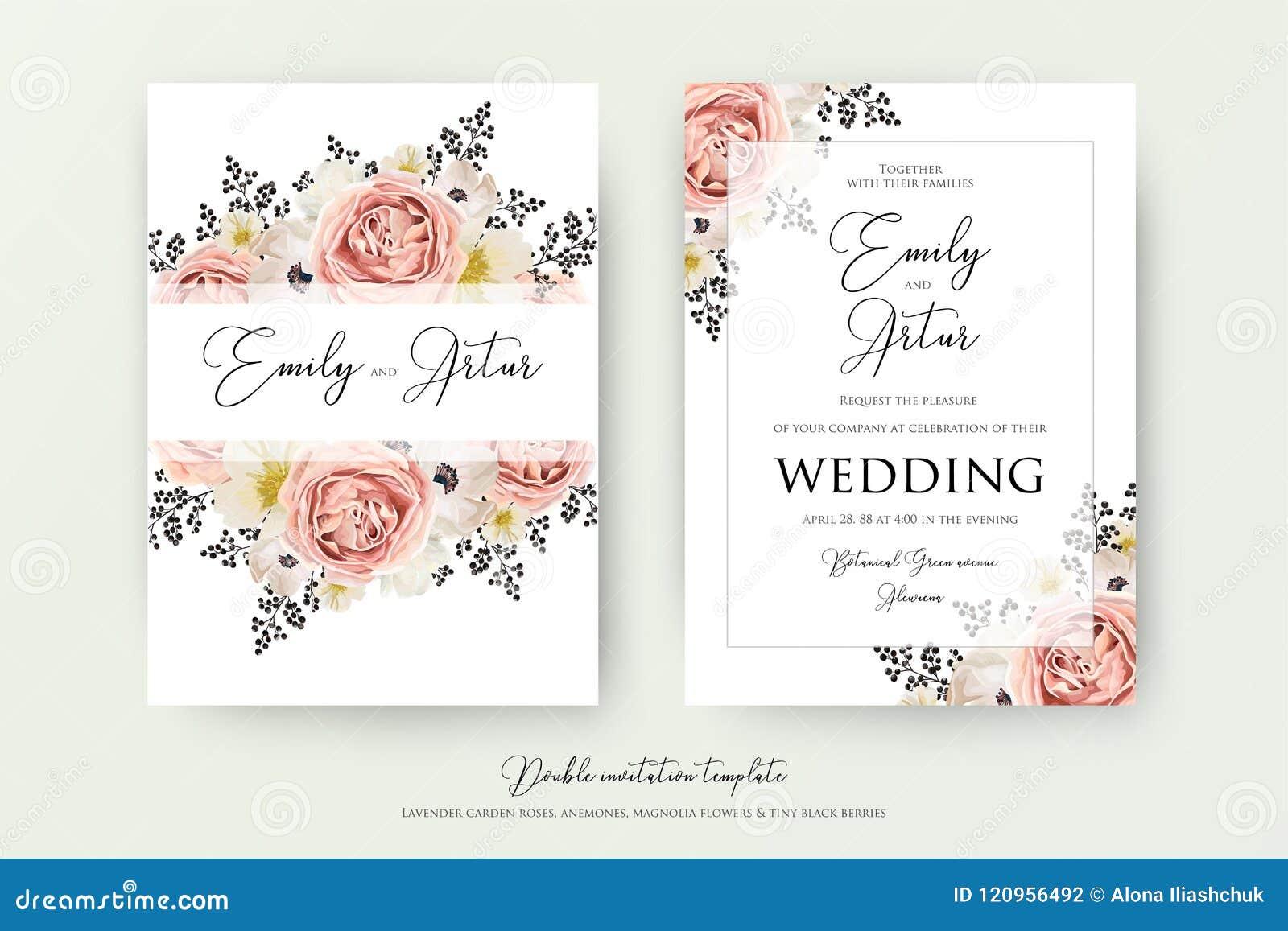 Wedding floral double watercolor invite, invitation, save the da