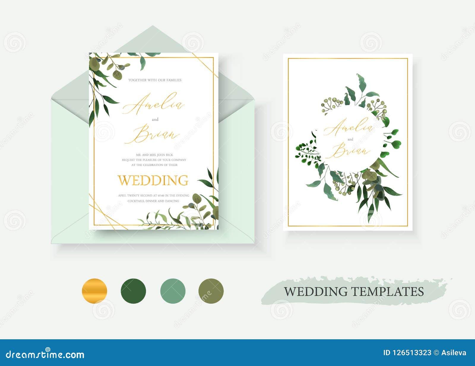 wedding floral gold invitation card envelope save the date design