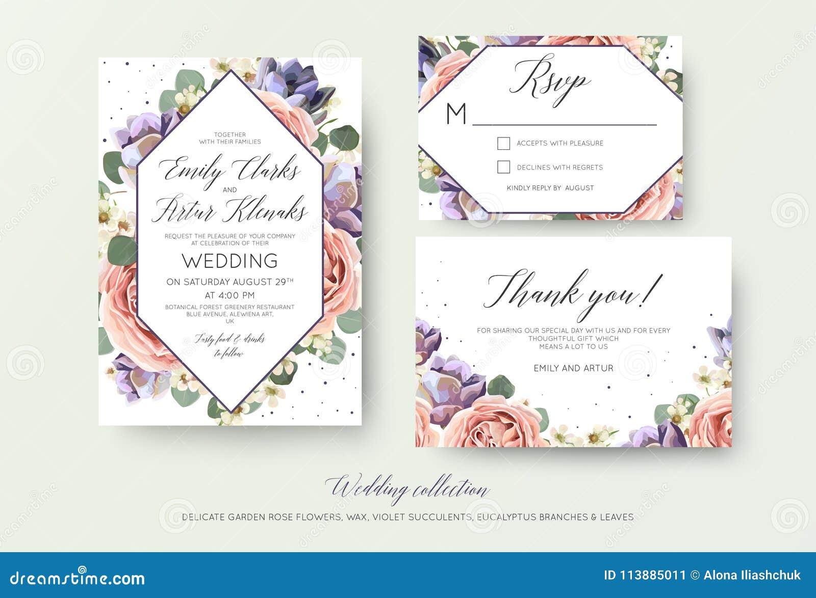 Wedding floral invitation, rsvp, thank you card elegant botanical design with lavender pink garden rose flowers, violet succulent