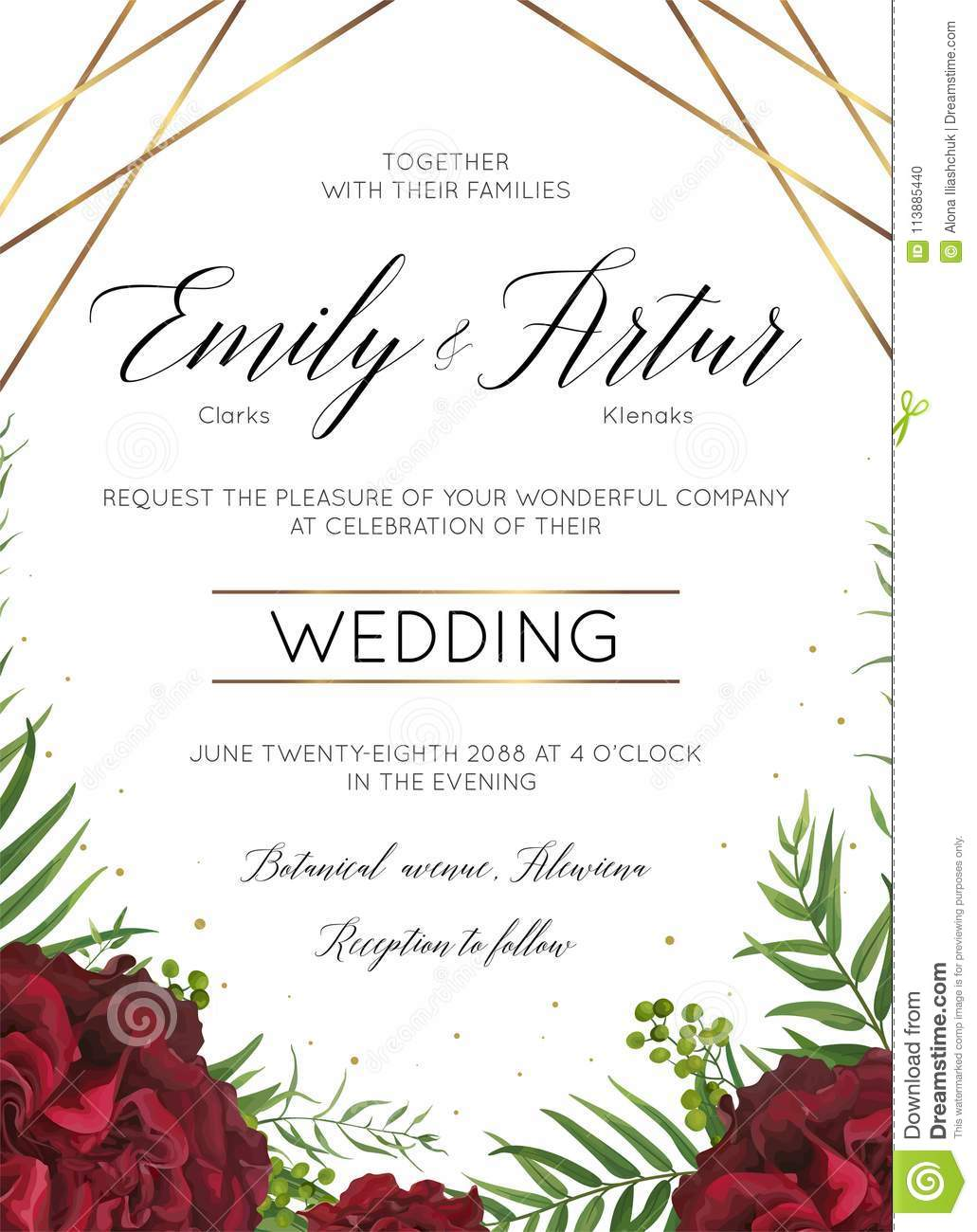 Wedding Floral Invite, Invitation Save The Date Card Design With ...