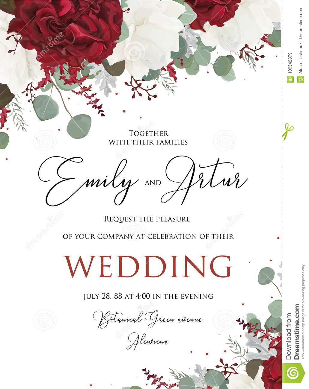 Wedding floral invite, invitation save the date card design with