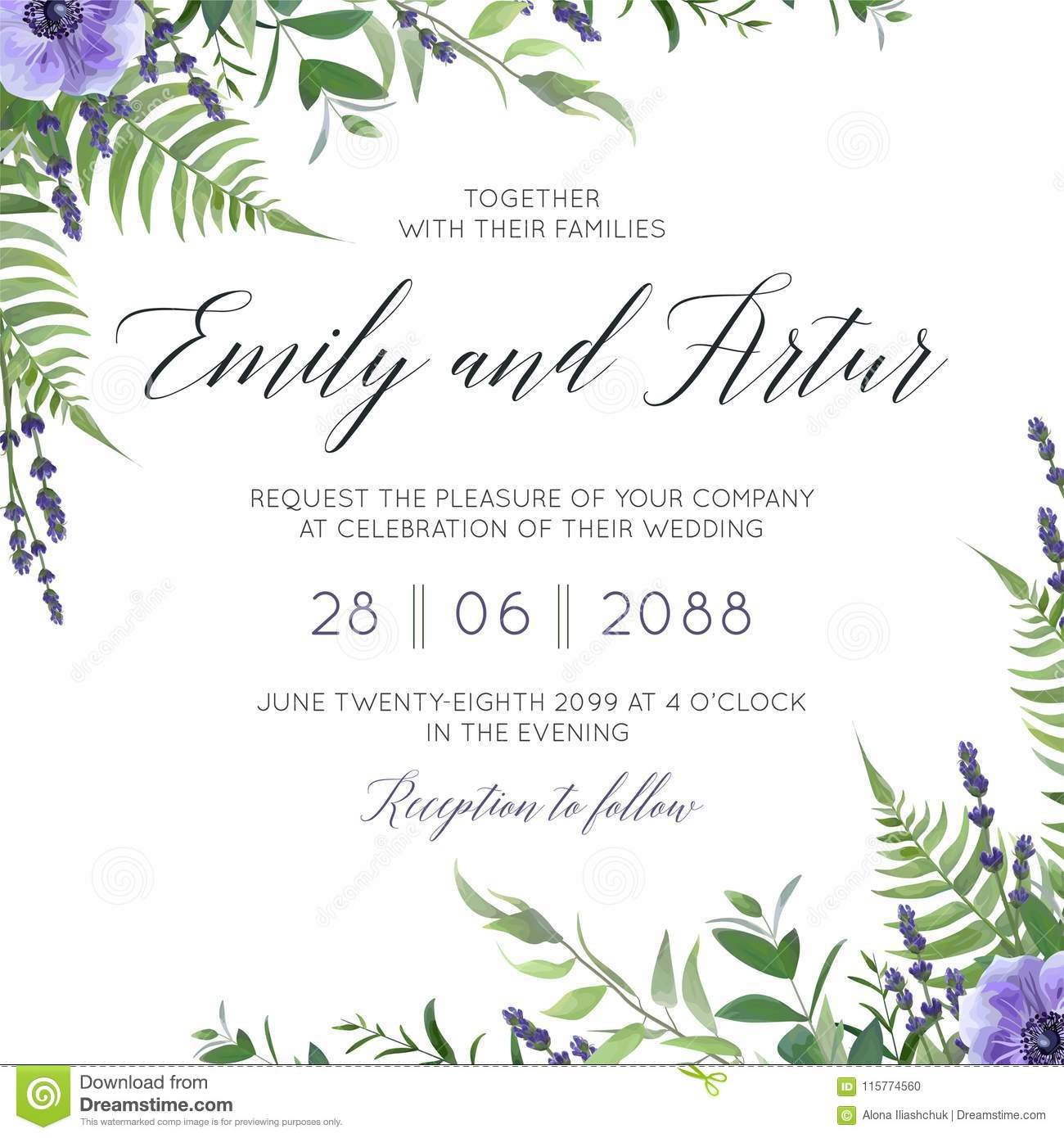 Wedding floral invite, invitation save the date card design with watercolor lavender blossom, violet anemone flowers, forest gree