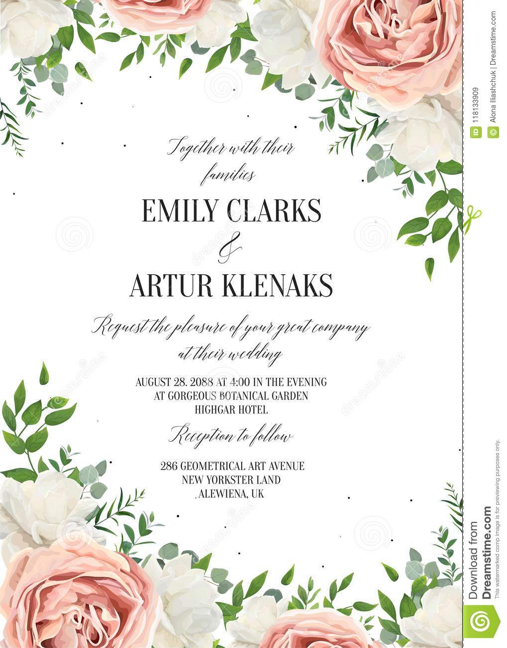Wedding Floral Invite Invtation Save The Date Card Design