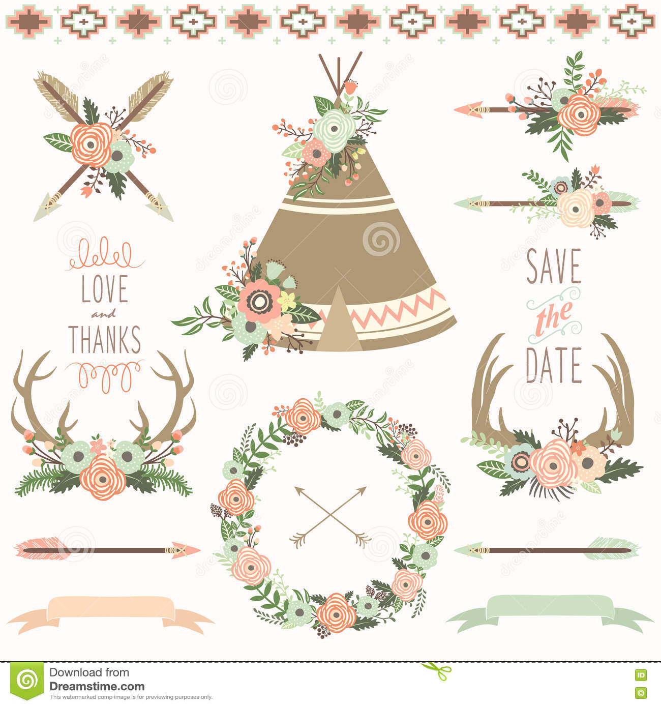 wedding floral teepee tribal set stock vector