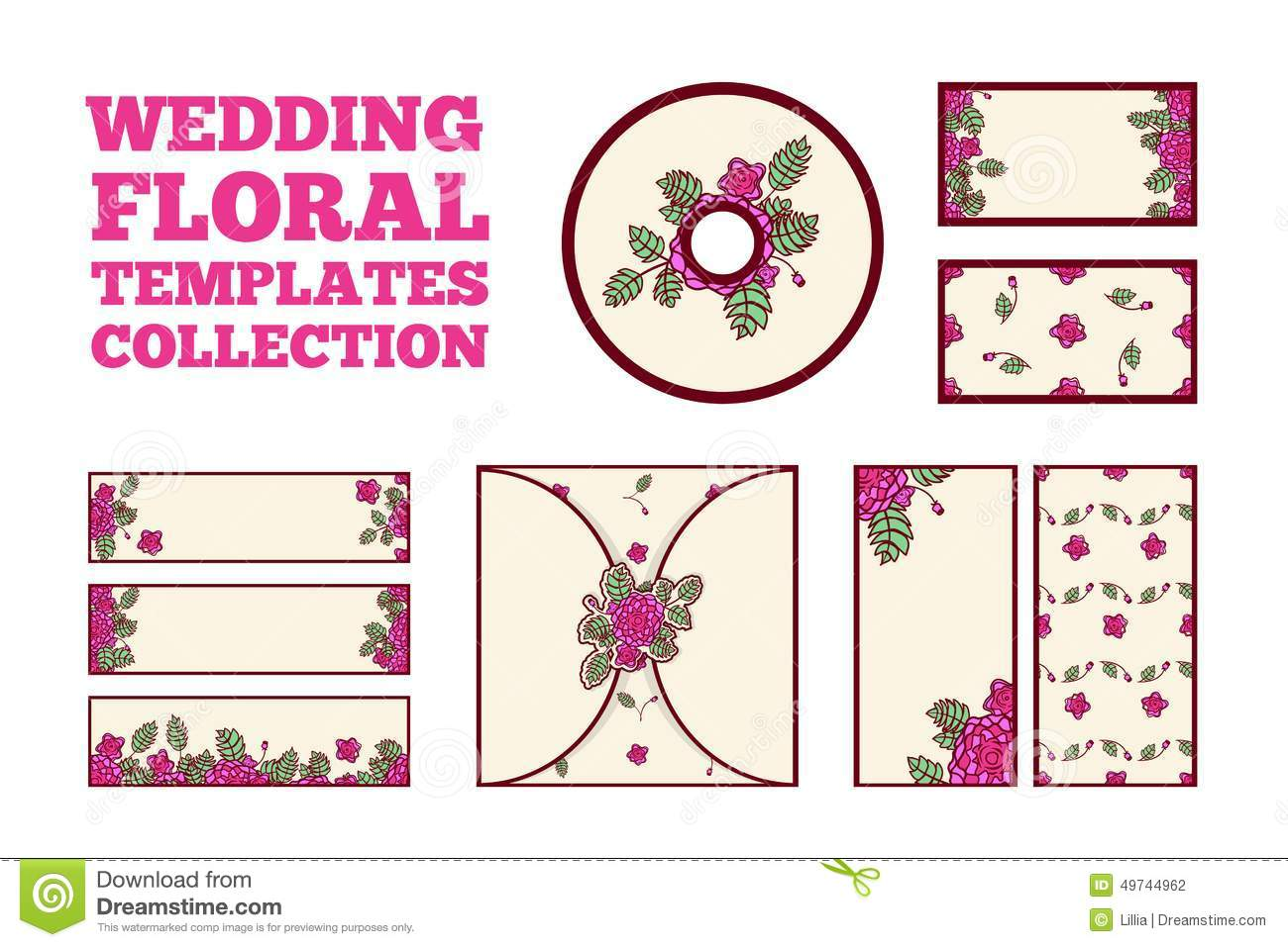 Wedding floral template collection stock vector illustration of wedding floral template collection invitation card three horisontal banners two vertical banners cd cover two cards stopboris Images