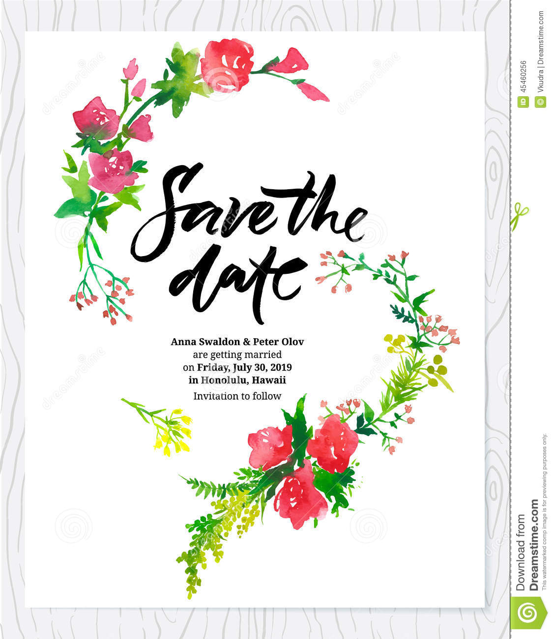 Wedding Floral Watercolor Card Save The Date Stock Vector