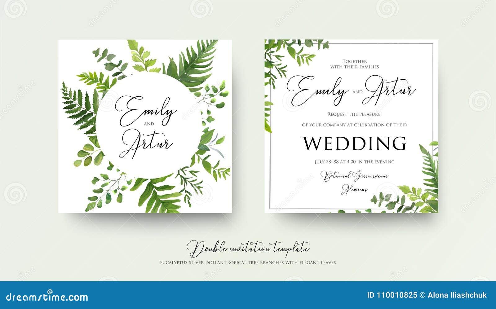 Wedding floral watercolor style double invite, invitation, save