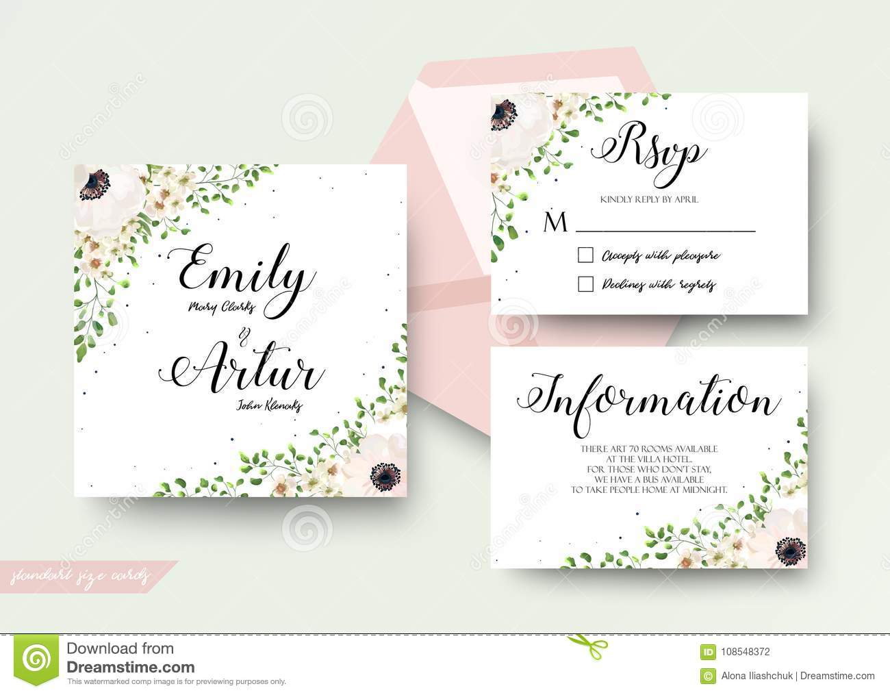 Wedding Floral Watercolor Style Invite, Rsvp, Save The Date, Tha ...