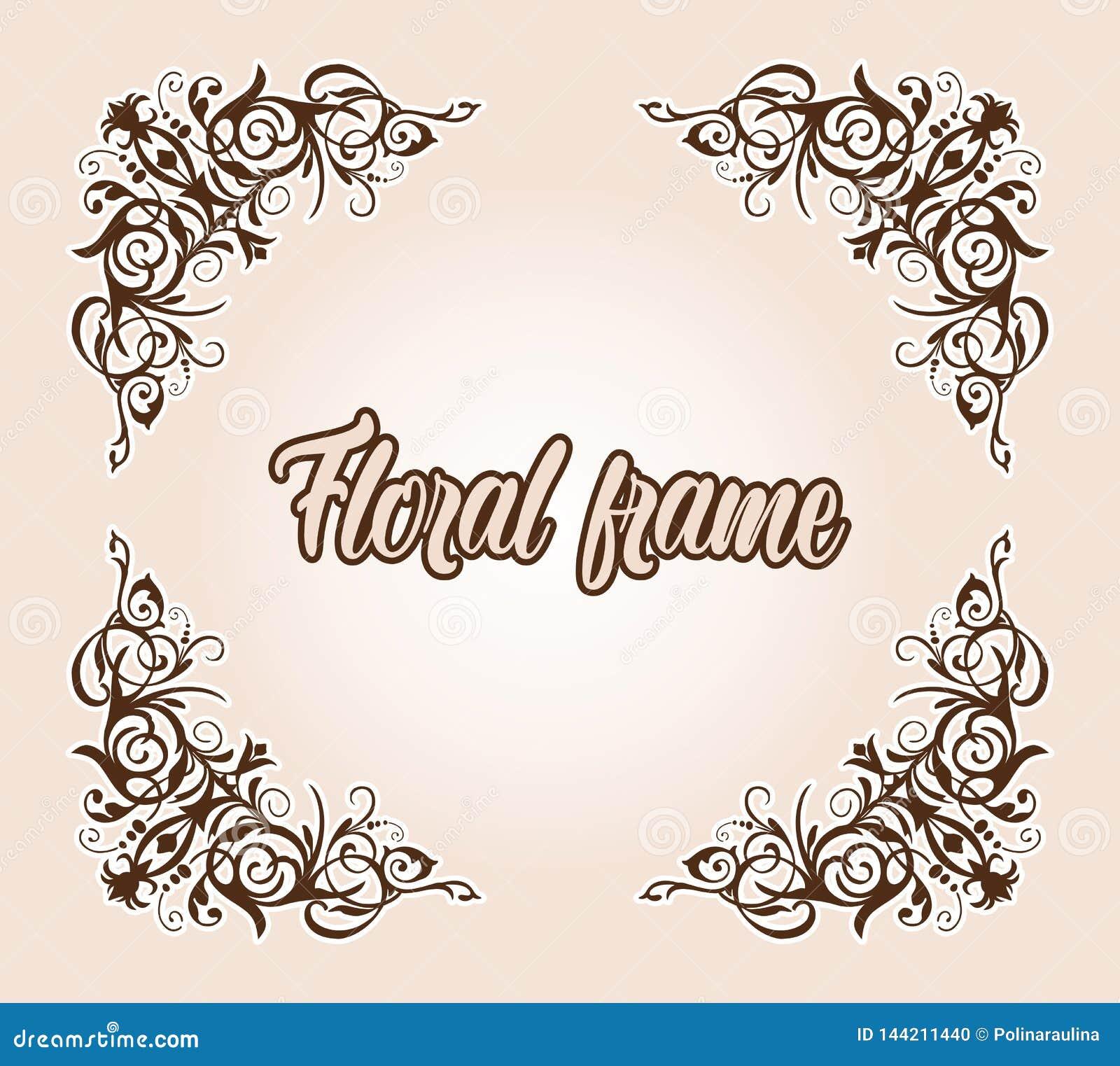 wedding flourish frame border cornerinvtation card design