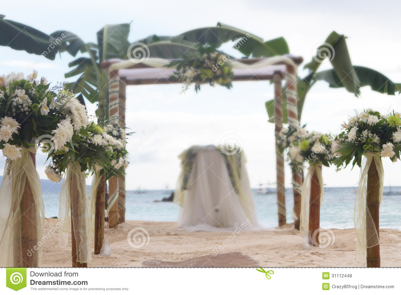 Wedding flower arch post and decoration on beach stock for Arch decoration pictures