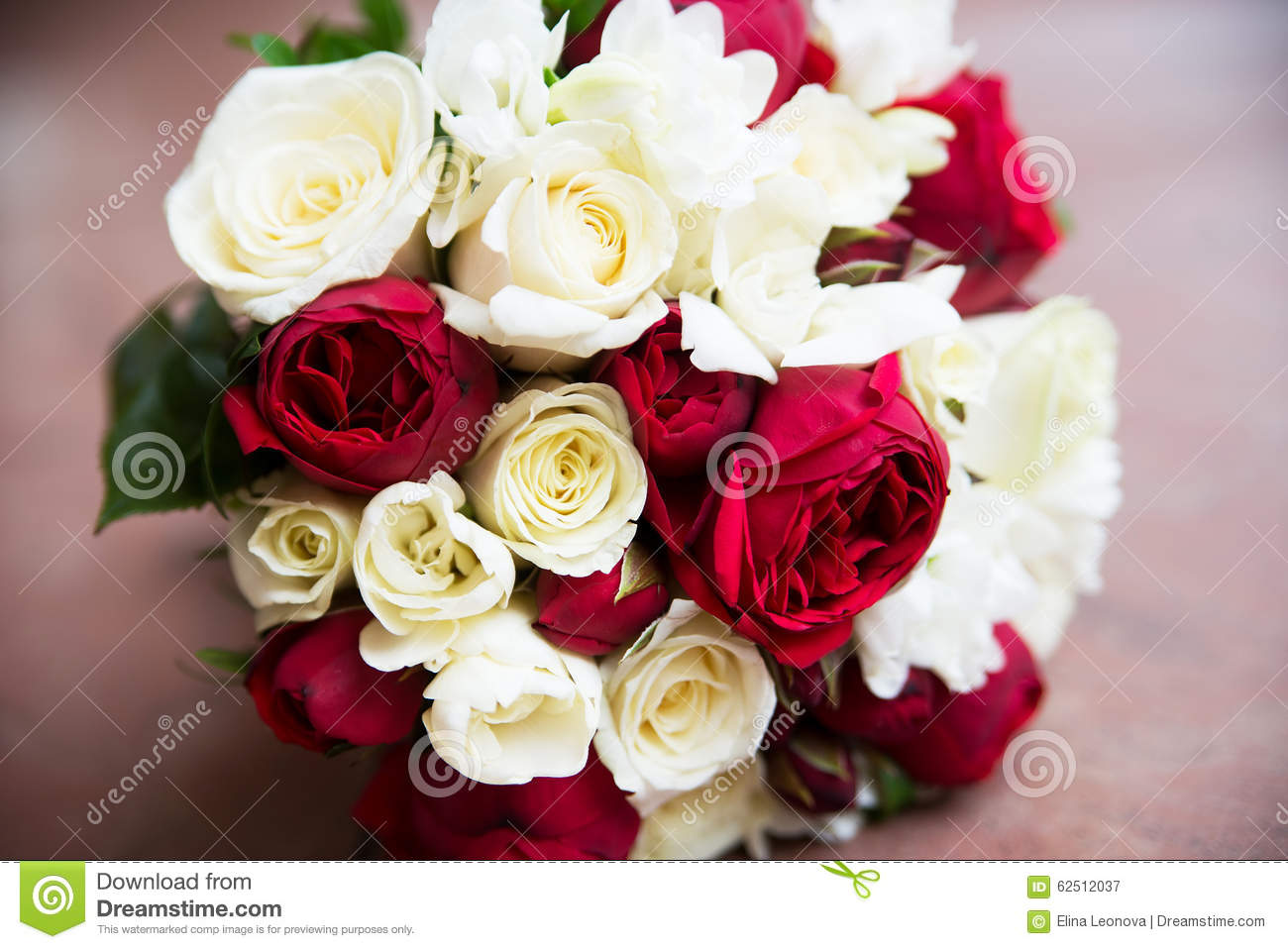 Wedding Flower Bouquet With Pink Red And White Roses Stock Image