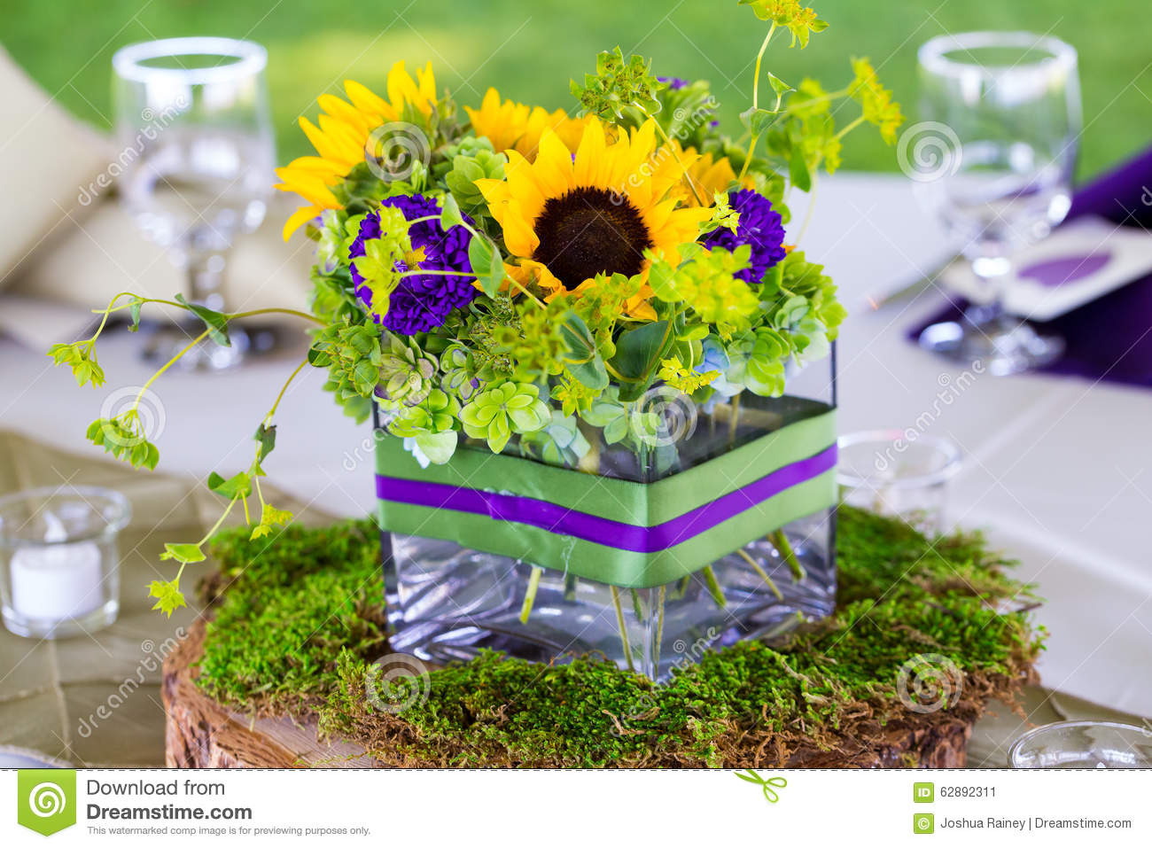 Wedding Flower Centerpieces At Reception Table Stock Image Image
