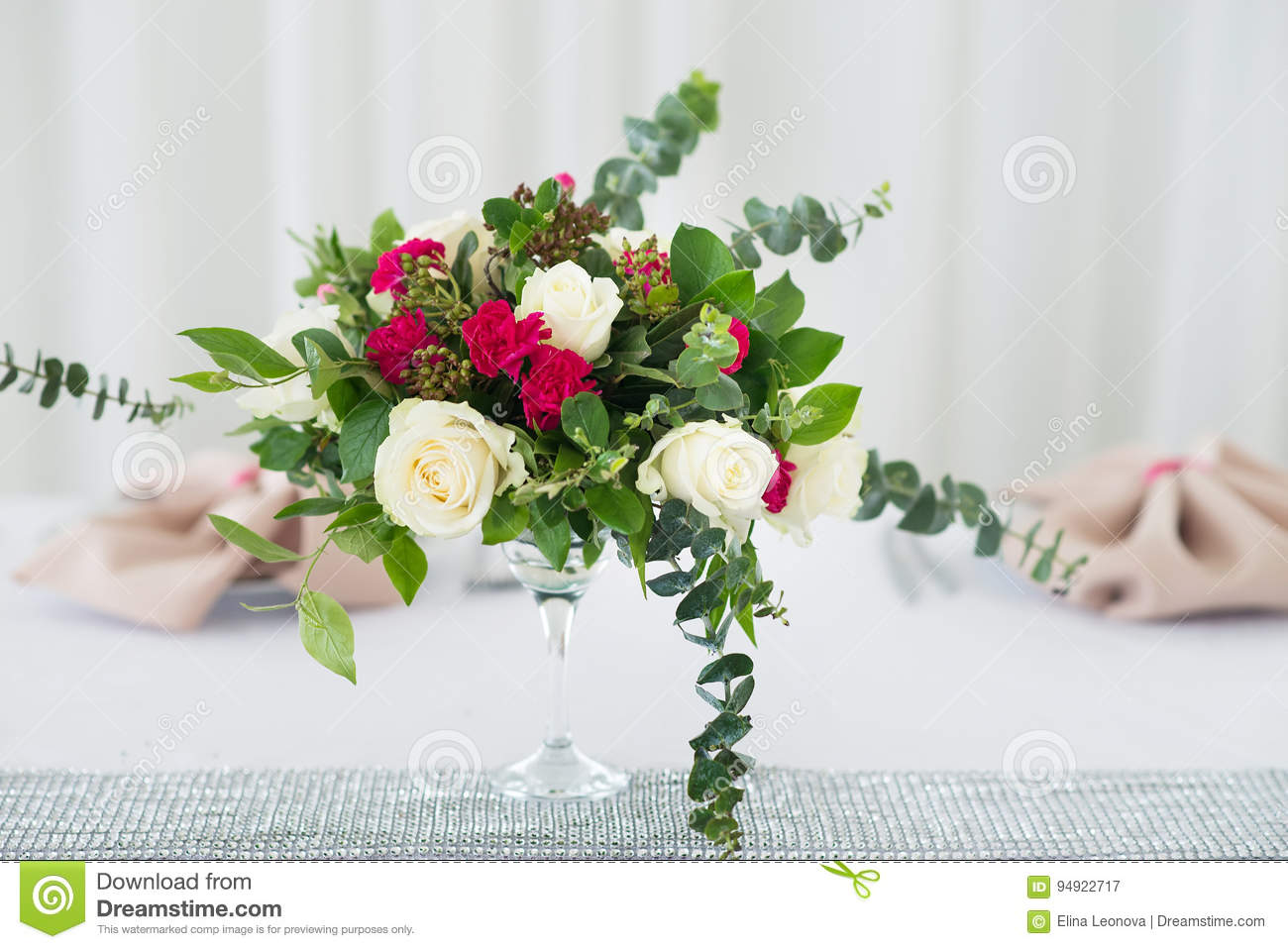 Wedding Flower Composition On Table Bouquet With Roses Stock Image
