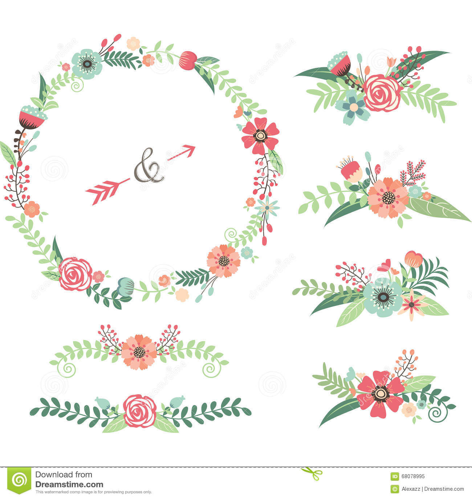 wedding flower elements stock vector