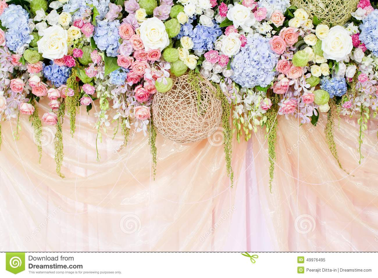 Wedding flowers background stock image image 49976495 for Background decoration for wedding