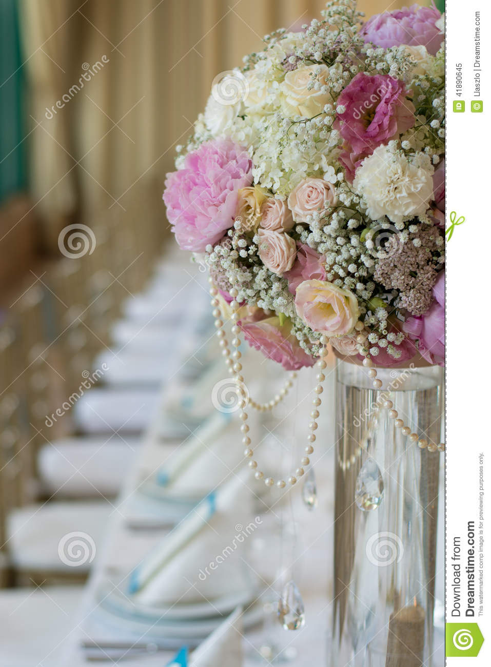 Wedding Flowers on Banquet Table