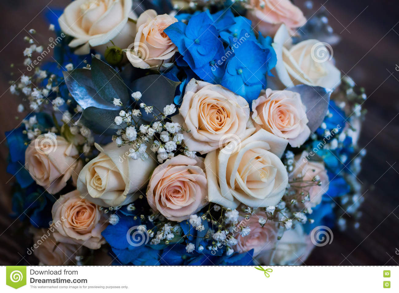 Wedding Flowers Bouquet Of Pink Roses And Blue Flowers Stock Image