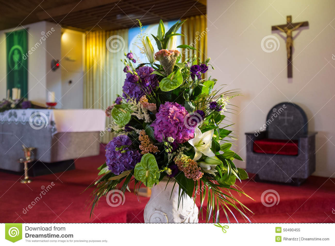 Wedding flowers in Church. stock image. Image of altar - 50490455