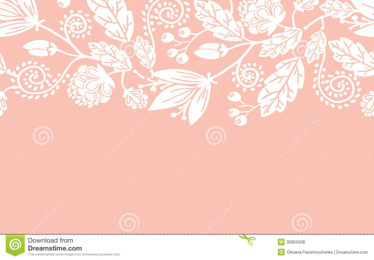 Wedding Flowers And Leaves Horizontal Seamless Royalty Free Stock