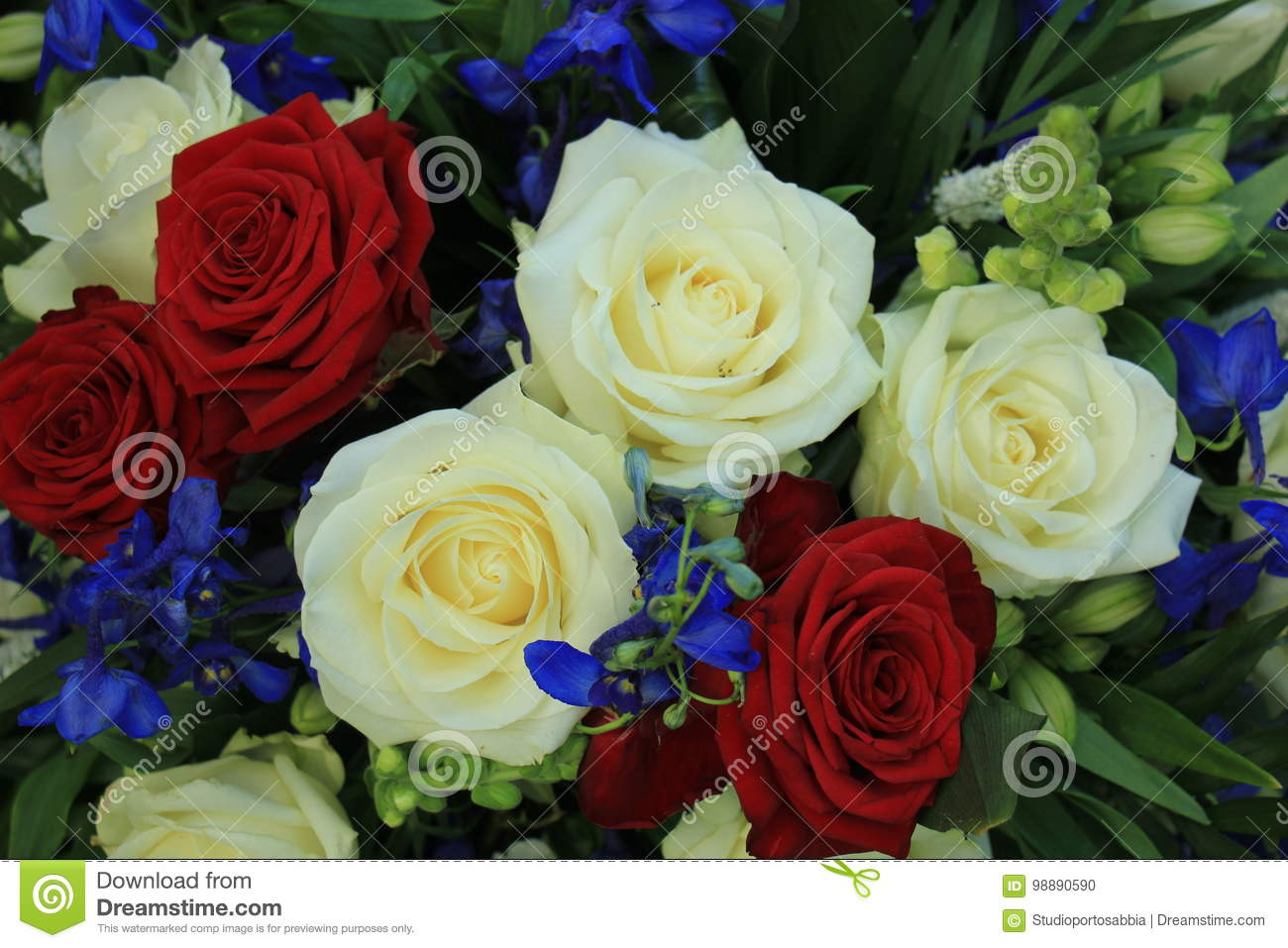 Wedding Flowers In Red White And Blue Stock Photo Image Of Bridal