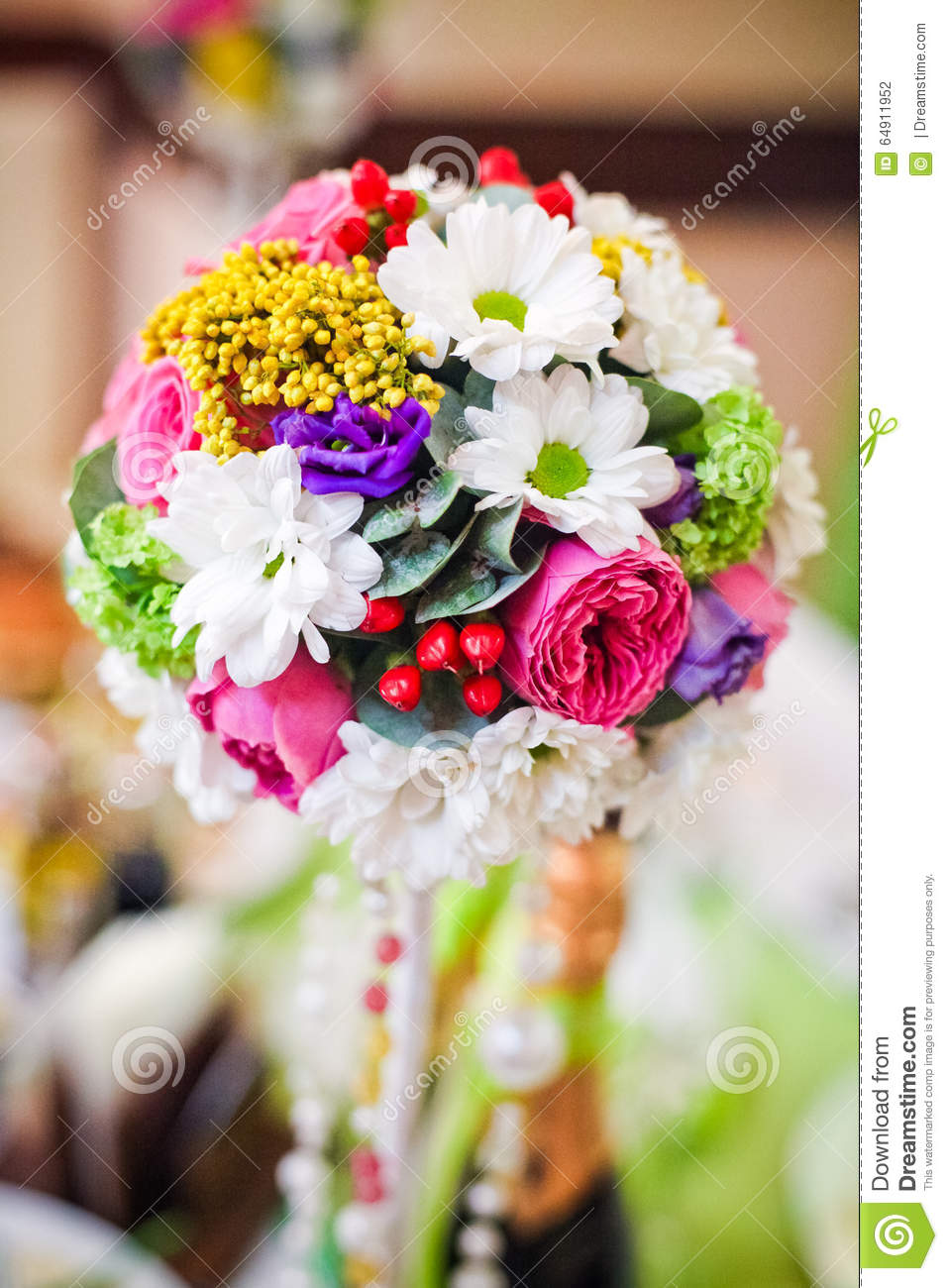 Wedding Flowers Roses And Daisies Bright On The Table Stock Photo
