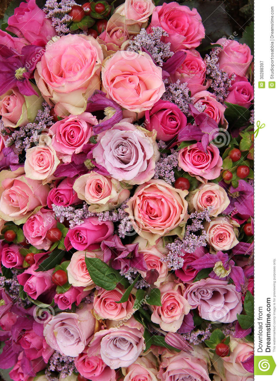 Purple and pink roses wedding arrangement royalty free for Pics of colourful roses
