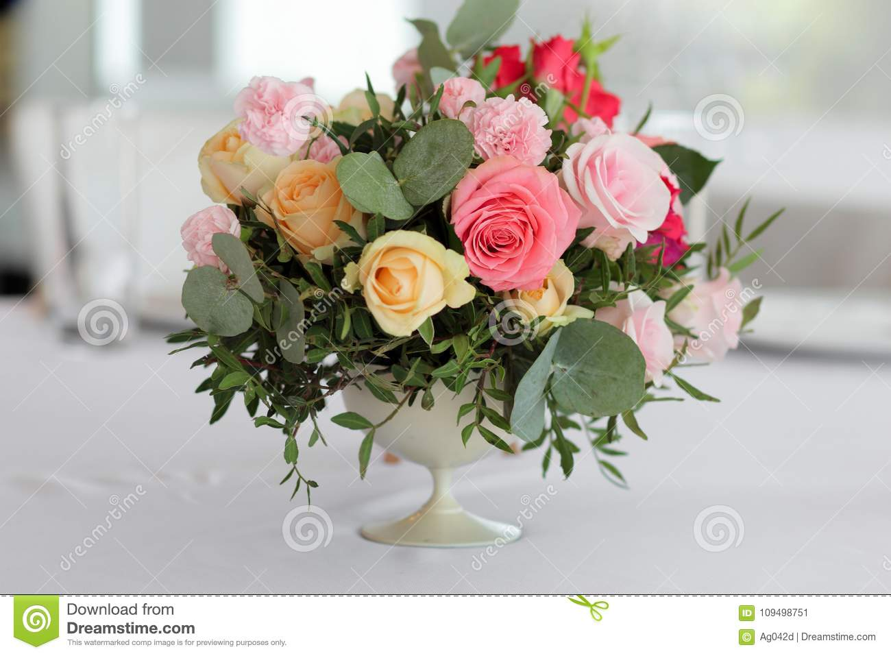 Wedding Flowers In A Vase On The Table Wedding Decor Stock Image