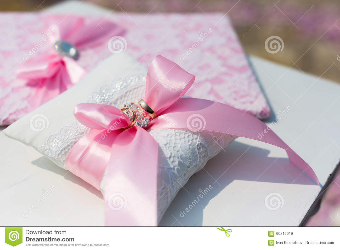 Wedding Folder And Pillow With Rings Stock Image - Image of ...