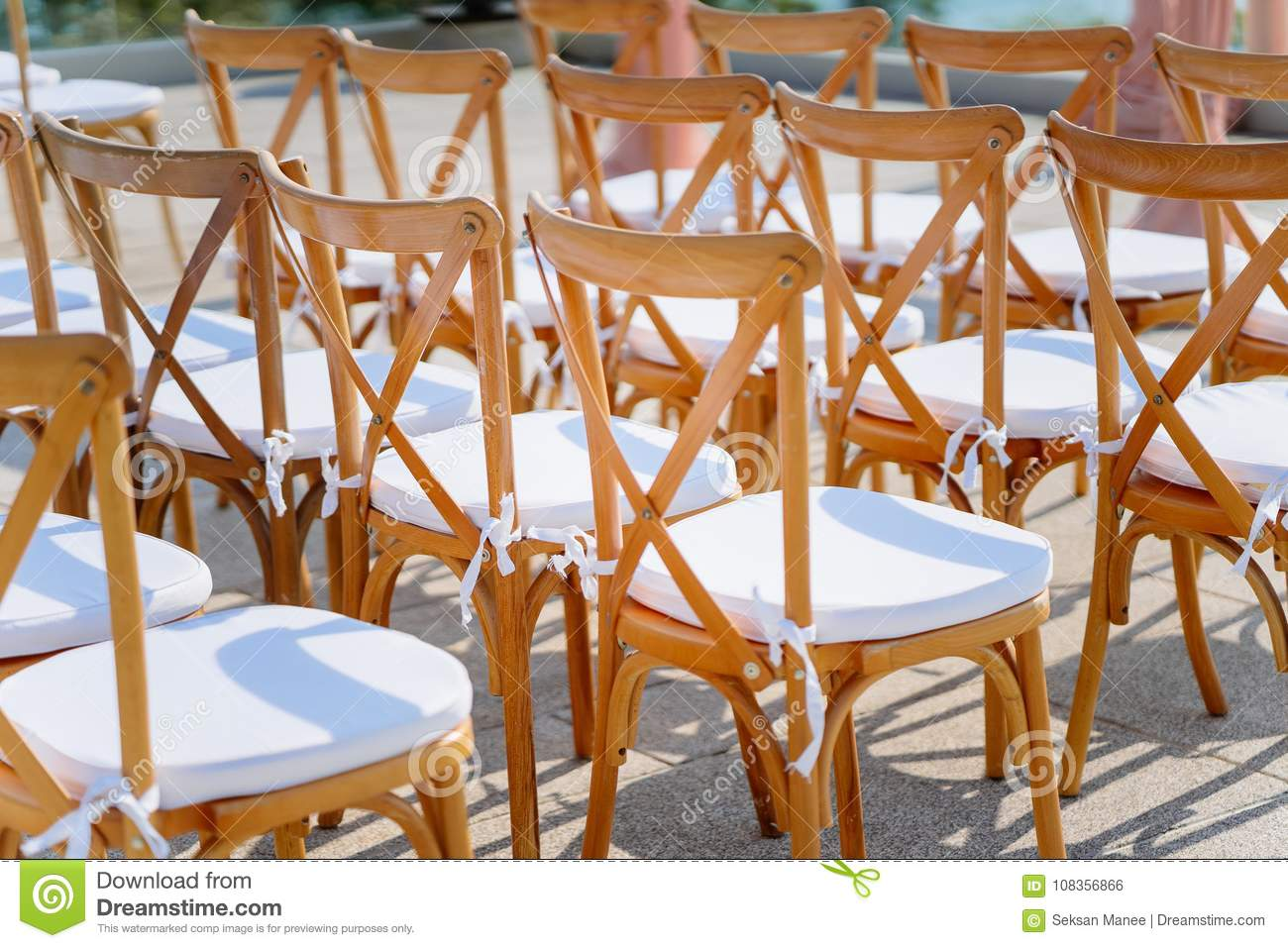 Wedding Folding Lawn Chair Stock Photo Image Of Flower 108356866