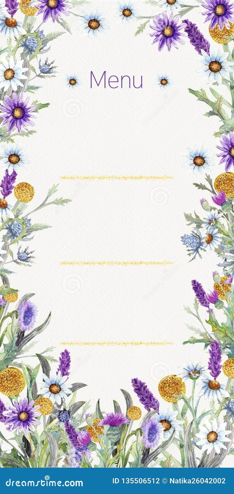 Wedding Frame Of Wild Flowers Watercolor Flower Arrangement