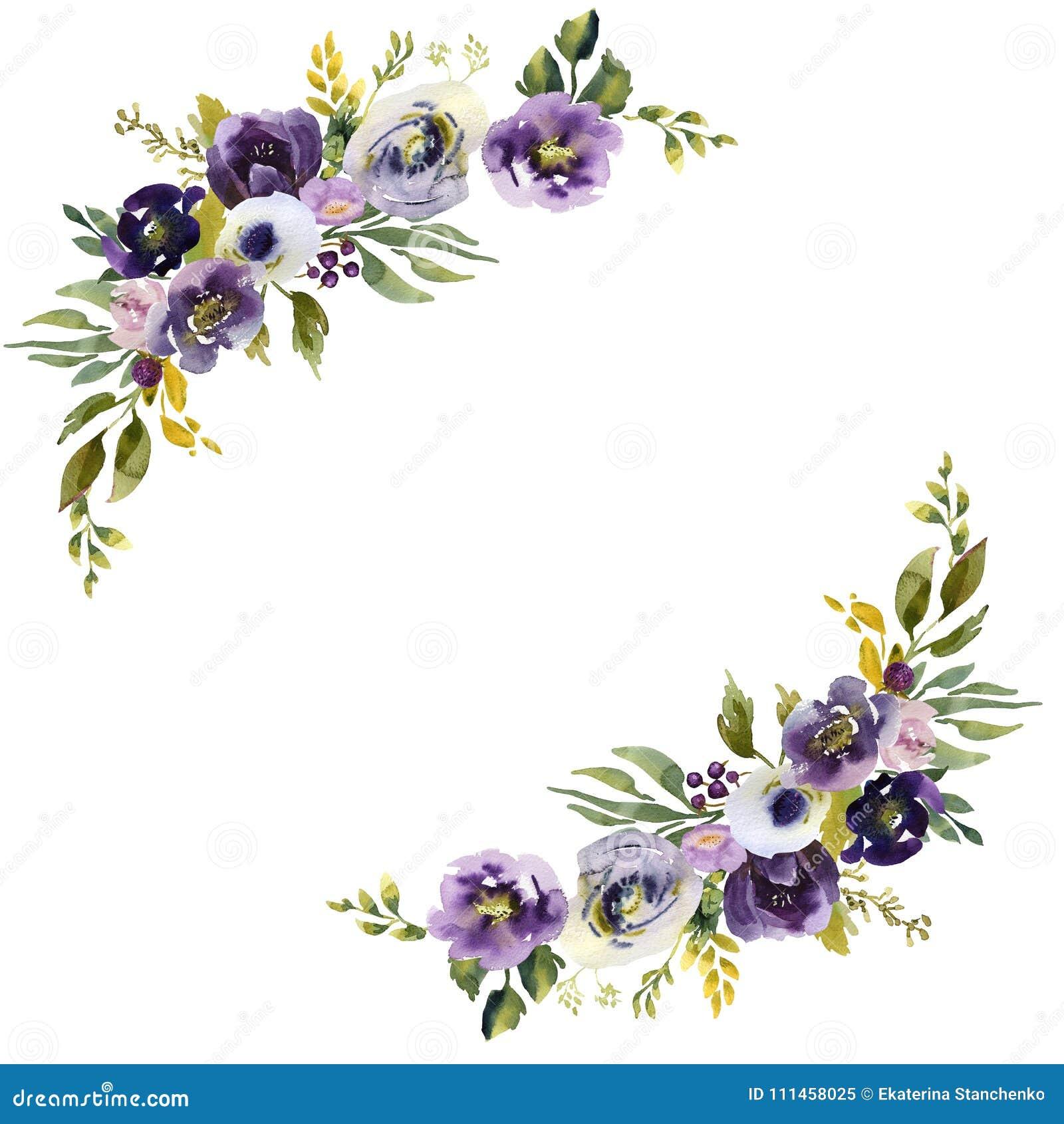 Purple Flower Wedding: Wedding Frame Wreath Green And Purple Flowers Ornament