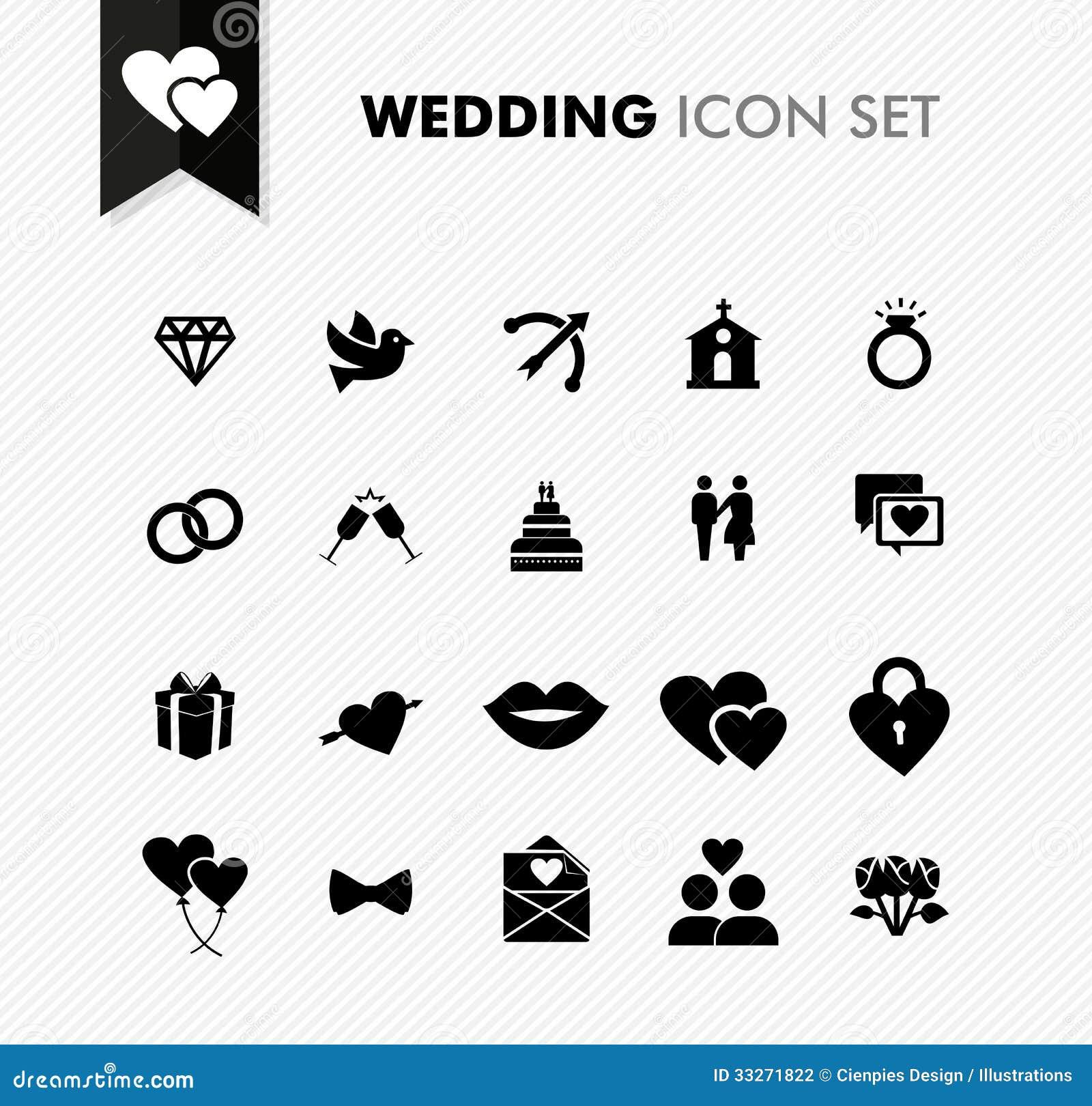 Wedding fresh icon set.