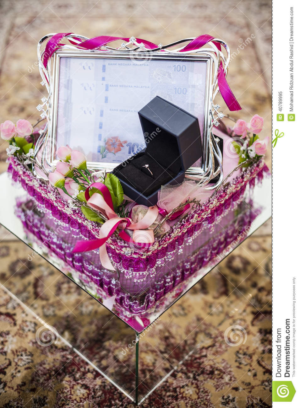 Wedding Couple Gift Exchange : Wedding Gift Decoration Stock PhotoImage: 40789995