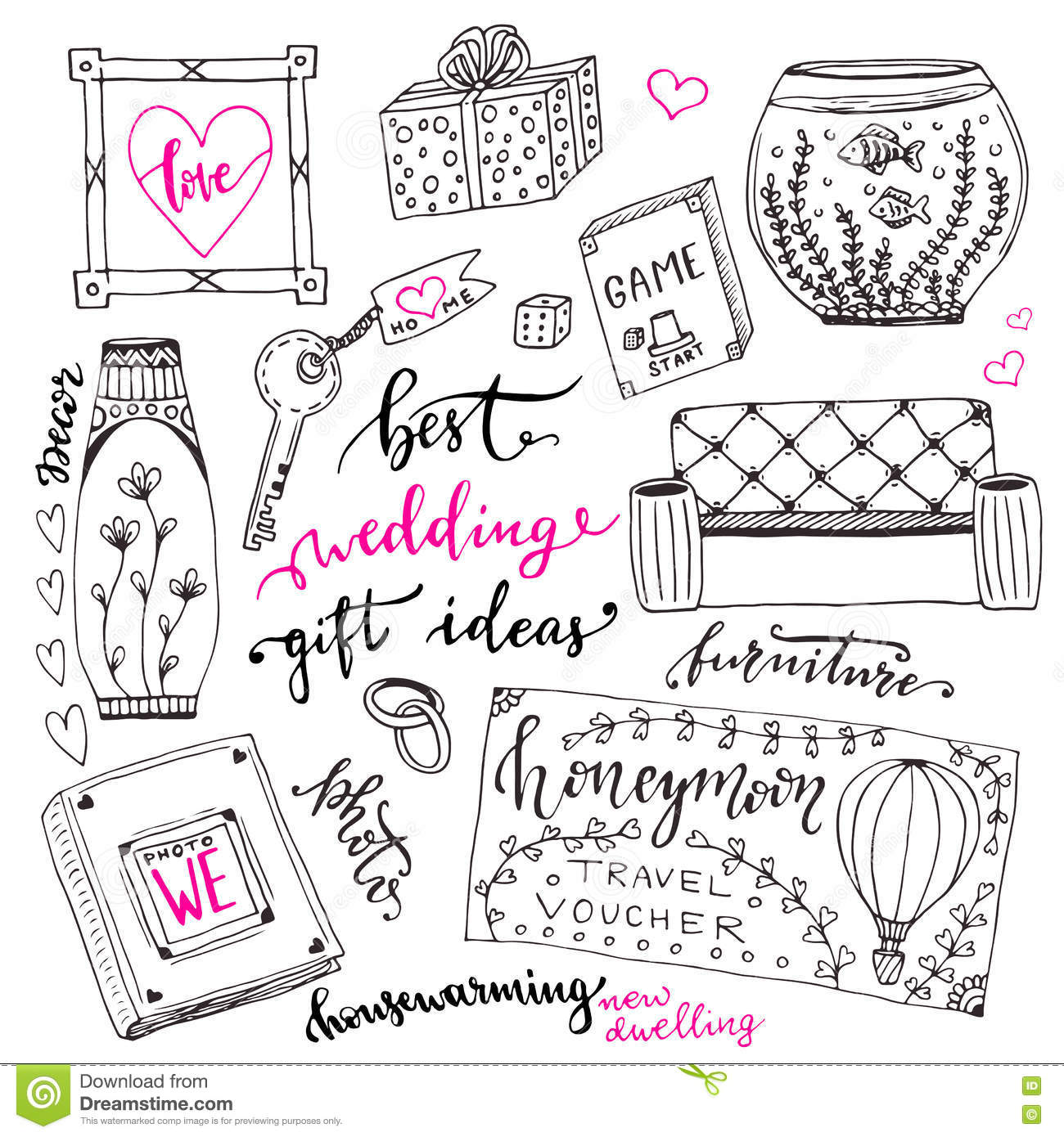 wedding gift ideas set cartoon doodle illustration for wedding