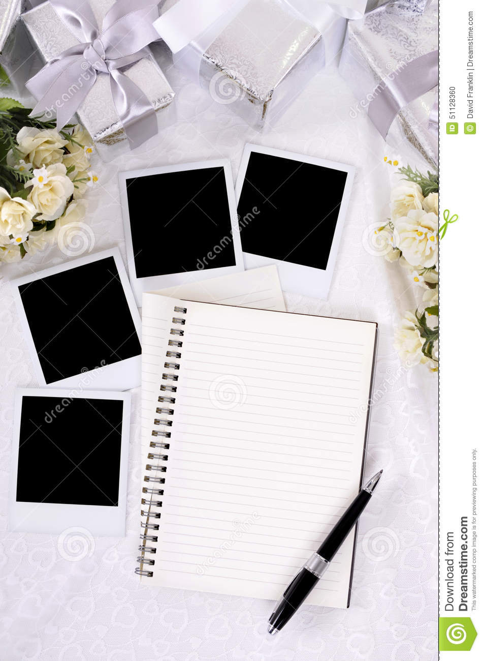 Wedding Photo Album Polaroid Frames Copy Space Vertical Stock Photo ...