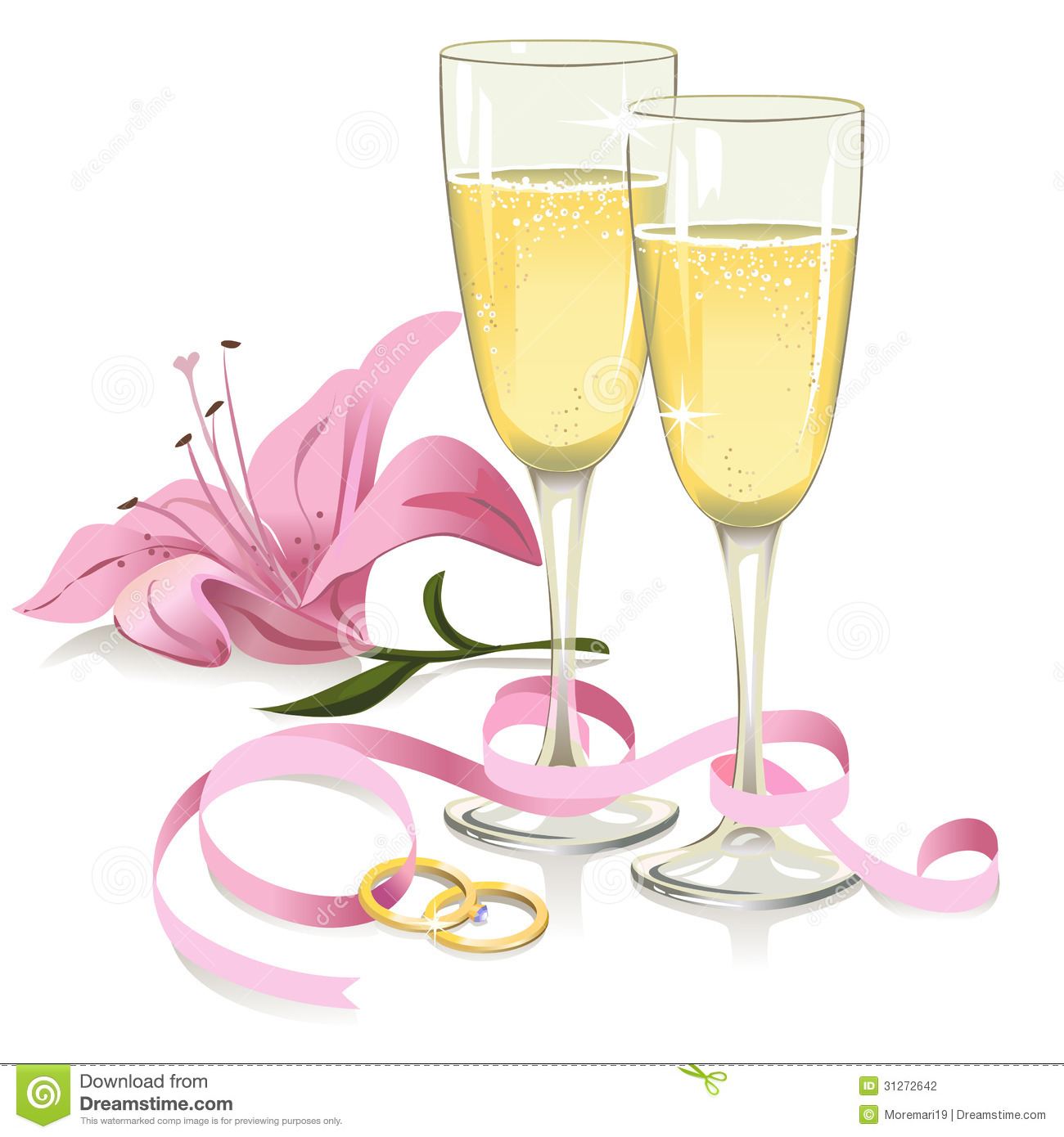 Wedding Glasses With Rings, Ribbon And Lily Stock Vector ...