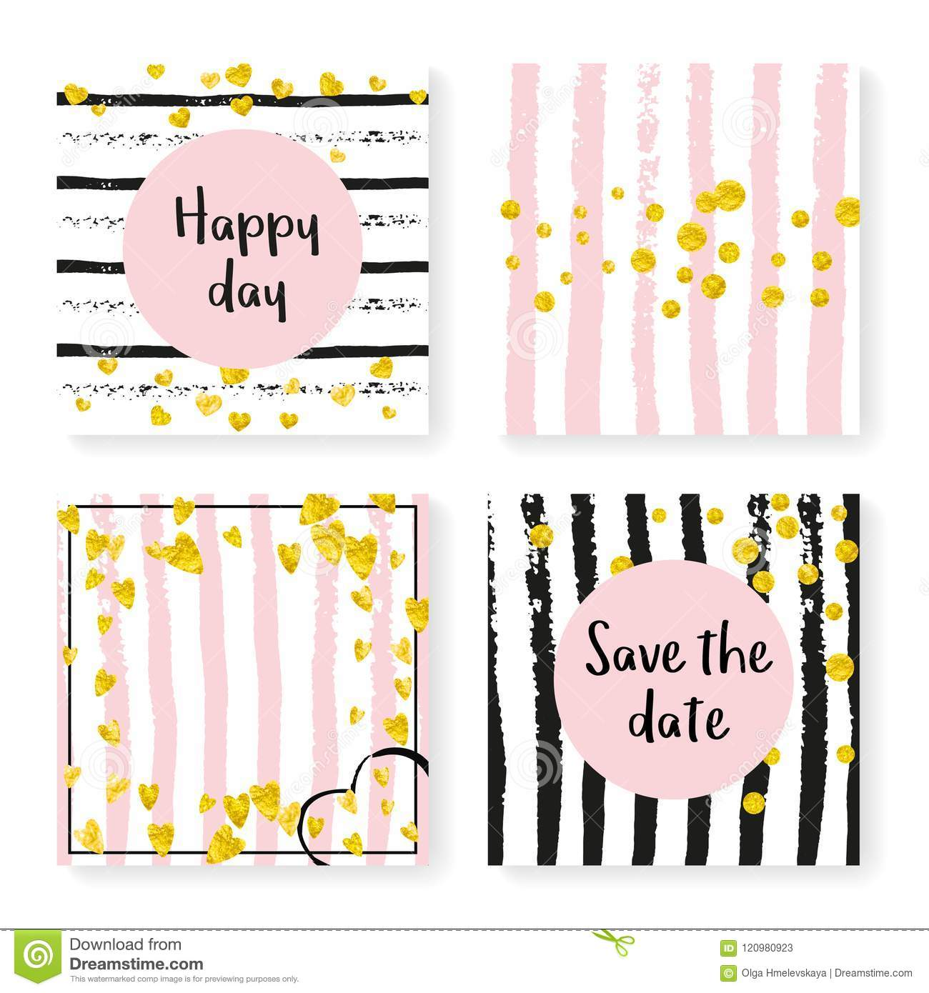 c22d653b2 Gold hearts and dots on black and pink background. Design with wedding  stripes for party