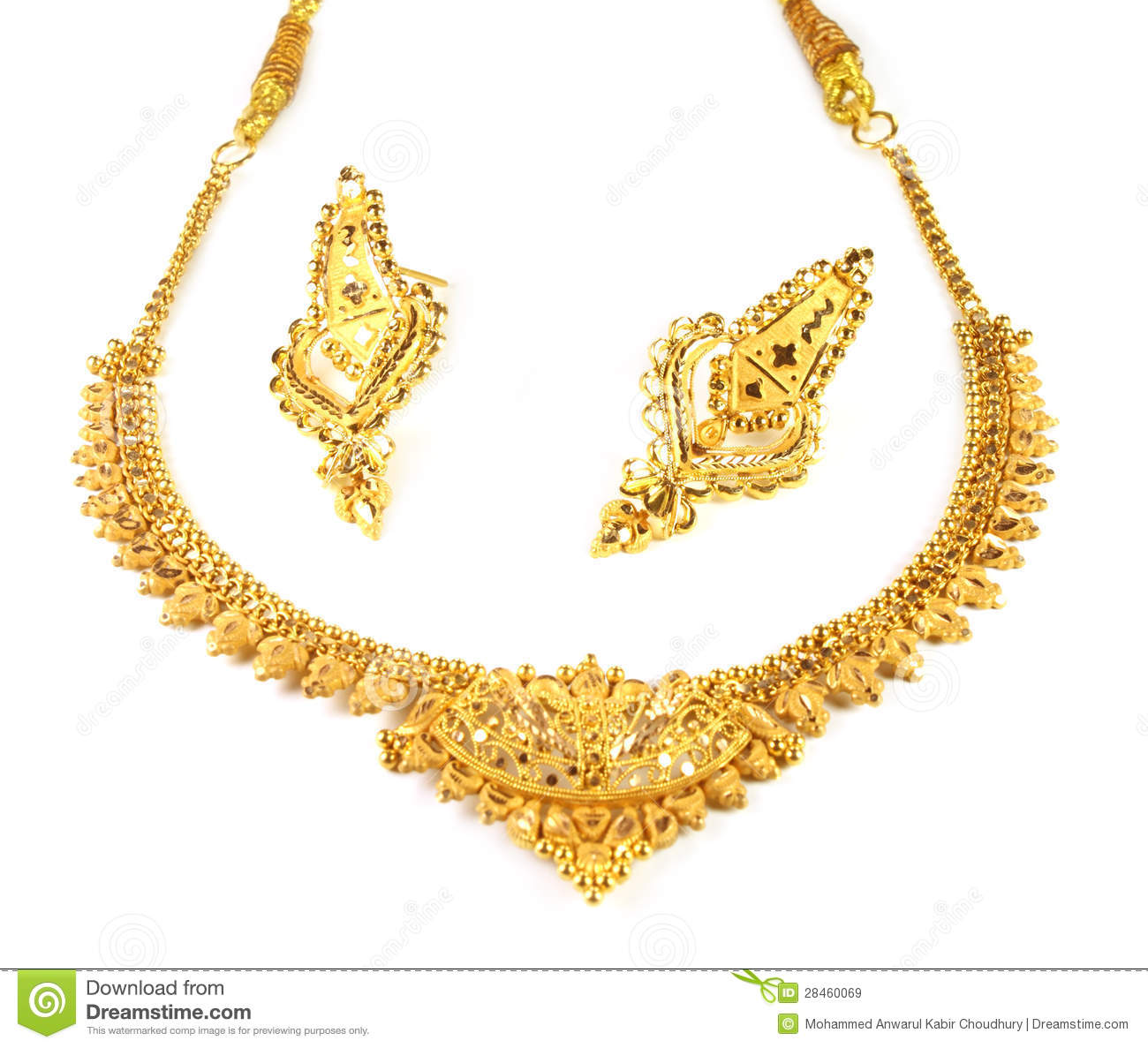 Wedding Gold Necklace With Earrings Stock Image - Image of gift ...