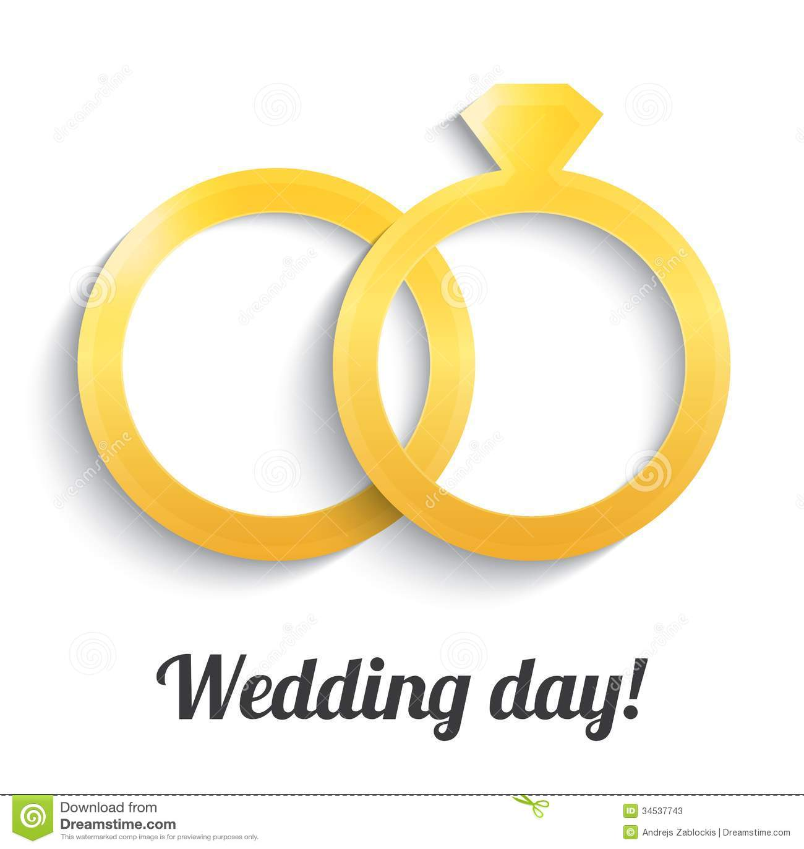 Wedding Gold Rings With Diamond. Wedding Day Icon. Stock