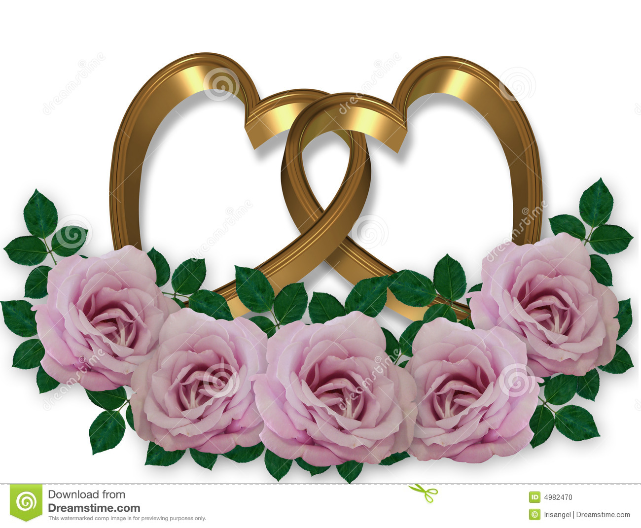 wedding graphic gold hearts rose4s stock photo image