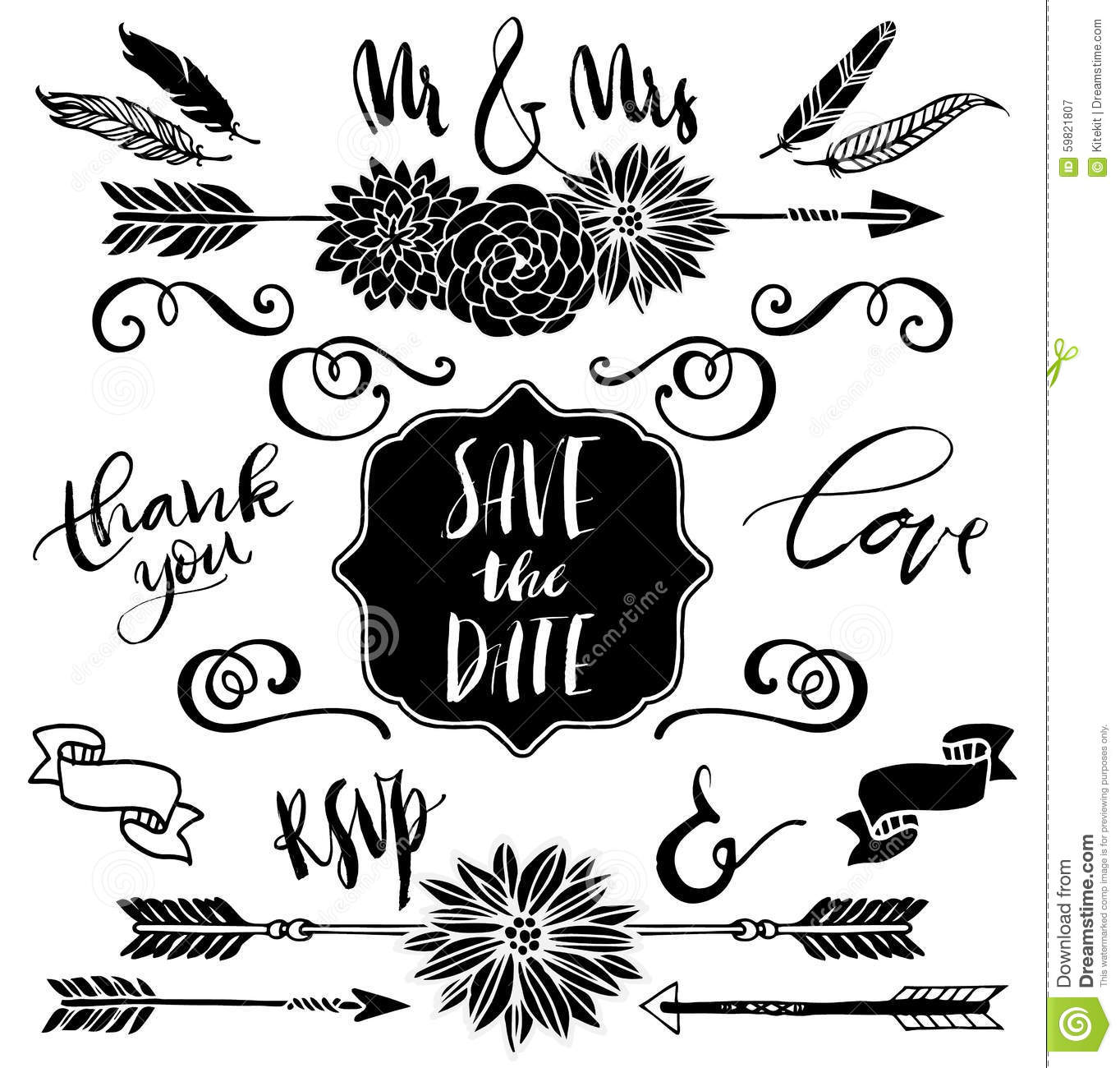 Wedding Graphics: Wedding Graphic Set, Arrows, Flowers, Curls, Ribbons And