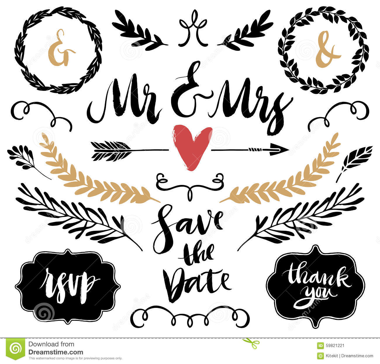 Wedding Graphics: Wedding Graphic Set, Arrows, Hearts, Laurel, Wreaths